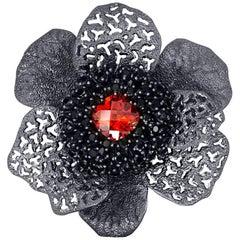 Alex Soldier Red Crystal Black Spinel Dark Sterling Silver Brooch Pendant