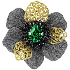 Alex Soldier Green Crystal Black Spinel Coronaria Brooch Pendant One of a Kind