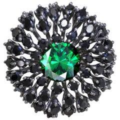 Alex Soldier Swarovski Green Crystal Black Spinel Dark Sterling Silver Ring