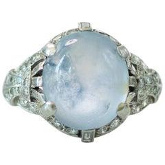 1930s Art Deco J.E.Caldwell 5 Carat Star Sapphire Diamond and Platinum Ring
