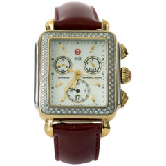 Michele Stainless Steel Gold Tone Diamond Signature Art Deco Wristwatch