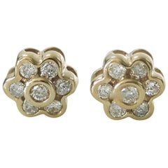 Diamond and Yellow Gold Floral Stud Earrings