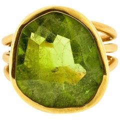 Artisan Large Peridot Gold Ring