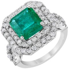 6.28 Carat Emerald Diamond Cocktail Ring