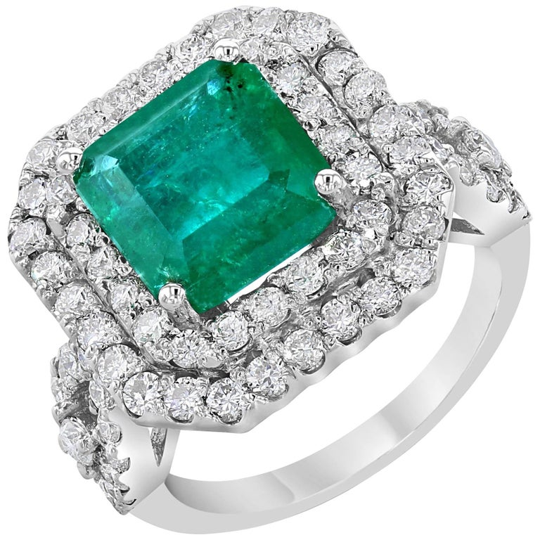 6.28 Carat Emerald Diamond Cocktail Ring For Sale