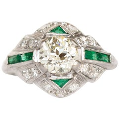1.01 Carat Diamond and Emerald Platinum Engagement Ring