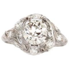 GIA Certified 0.76 Carat Diamond Platinum Engagement Ring