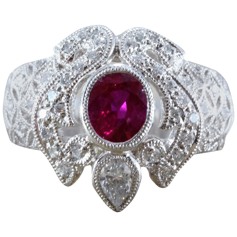 Ruby Diamond Platinum Ring