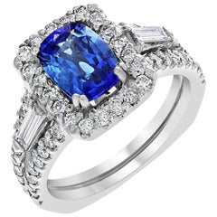 GIA Certified 2.59 Carat Blue Sapphire and Diamond Cocktail Ring