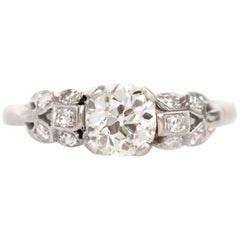 GIA Certified 0.90 Carat Diamond Platinum Engagement Ring