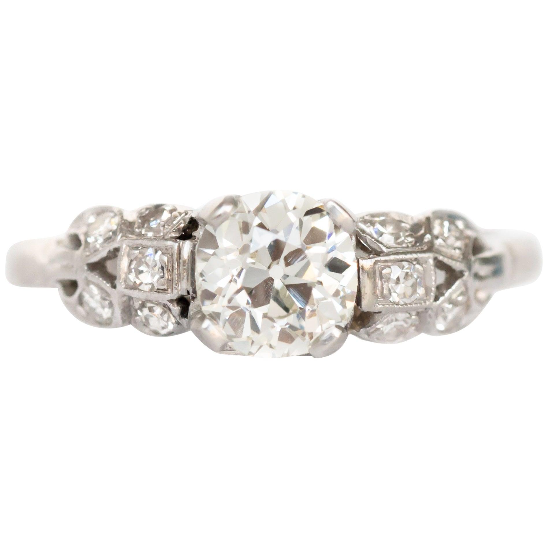 GIA Certified 0.90 Carat Diamond Platinum Engagement Ring