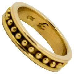 Elizabeth Locke  Yellow Gold Beaded Band Ring