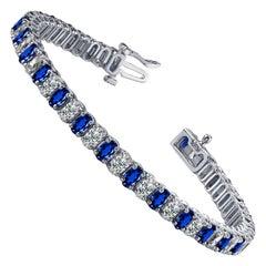 Oval Ceylon Sapphire Diamond Bracelet