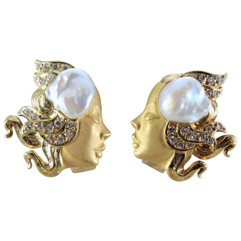 Carrera y Carrera Gold Baroque Pearl Earrings For Sale at ...