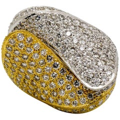 Diamond Yellow and White Gold Bypass Ring