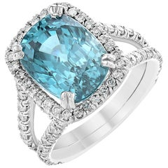 Blue Zircon and Diamond Ring in 18 Karat White Gold