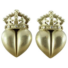 Kieselstein-Cord Diamond Gold Royal Heart Earrings