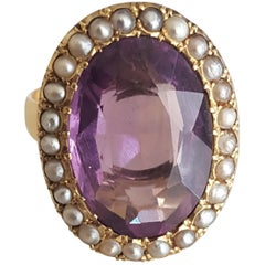 Victorian Amethyst Pearl Gold Cocktail Ring