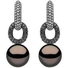 Yoko London Tahitian Pearl Earrings in Black Gold with Black and White Diamonds