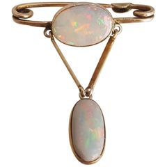 Art Deco Australian Opal Gold Bar Brooch