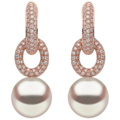 Yoko London South Sea Pearl Earrings in Rose Gold with White Diamonds