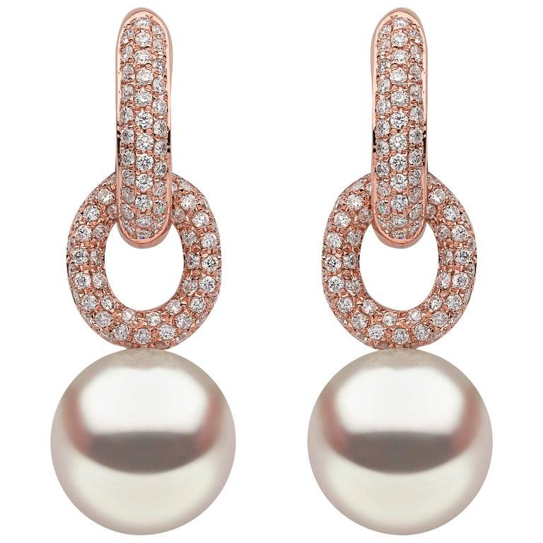 Yoko London South Sea Pearl Earrings in Rose Gold with White Diamonds