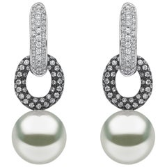 Yoko London White and Black Gold with South Sea Pearls and Diamonds Earrings