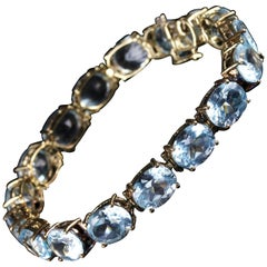 Antique Art Deco Blue Topaz Bracelet Gold circa 1920 Set
