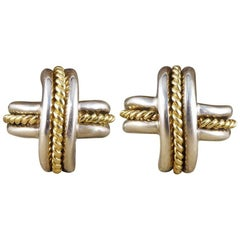 Tiffany & Co. Cross Weave Gold and Silver Clip-On Earrings
