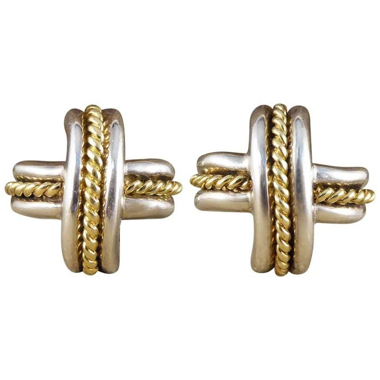 Tiffany Co Cross Weave Gold And Silver Clip On Earrings For