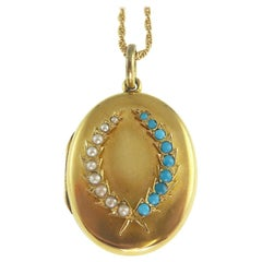 Victorian Turquoise and Pearl Picture Locket