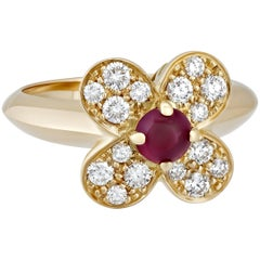 Van Cleef & Arpels Gold Diamond Ruby Floral Ring