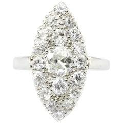 Old European Cut Diamond Navette Ring