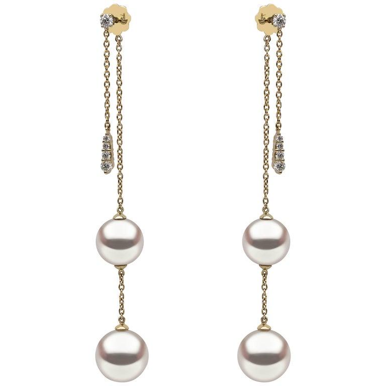 Yoko London Freshwater Pearl Earrings in Yellow Gold with White Diamonds For Sale