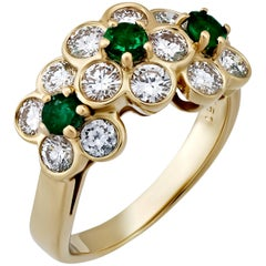 Van Cleef & Arpels 18K Yellow Gold Diamond and Emerald Floral Ring Size: 5