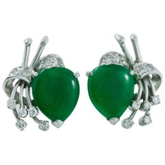 Glorious Jadeite Diamond White Gold Earrings