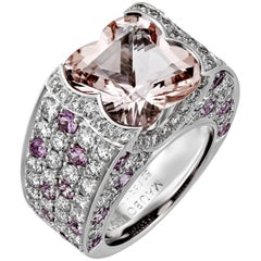 Mauboussin Diamond Pink Sapphire Large Morganite Gold Ring