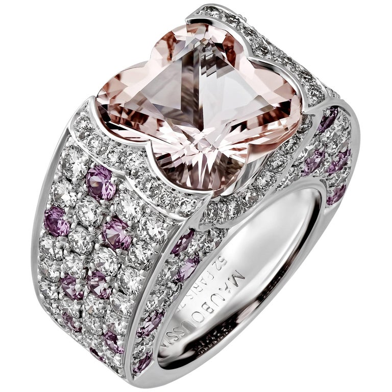 Mauboussin Diamond Pink Sapphire Morganite Gold Ring For Sale at 1stdibs