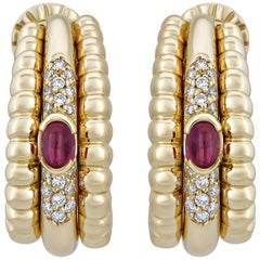 Piaget Yellow Gold Diamond and Ruby Huggie Earrings