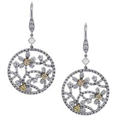 White and Yellow Diamond Flower Earrings