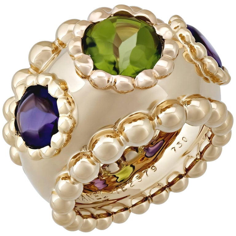 Chanel Gold Purple Amethyst and Green Peridot Ring 1