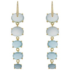 Diamond 18 Karat yellow solid Gold Drop Swiss Blue  Sky Blue Topaz earrings