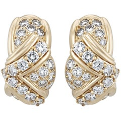 Christian Dior Diamond Gold Earrings