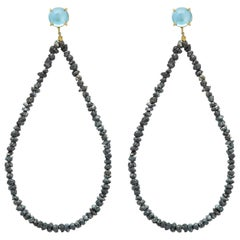 Black Rough Cut Diamond 18 Karat yellow topaz blue stone Gold Hoop Earrings