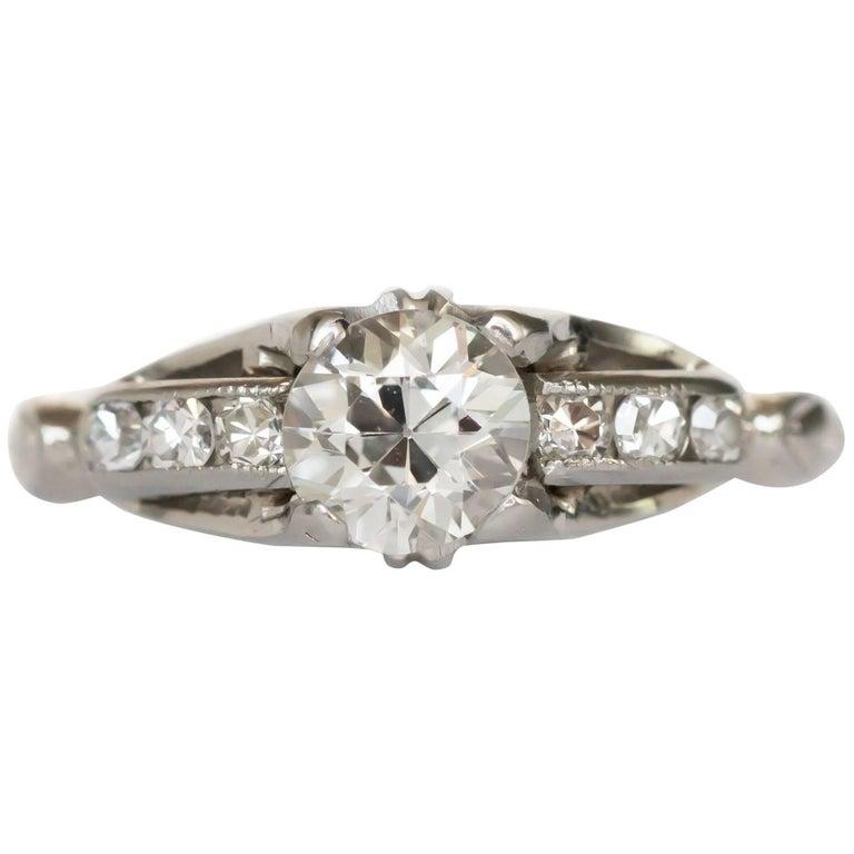 GIA Certified 0.49 Carat Diamond White Gold Engagement Ring