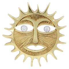 14 Karat Yellow Gold Diamond Sun Pendant