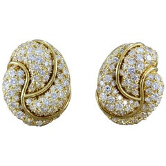 Henry Dunay Diamond Gold Swirl Ear-Clip Earrings
