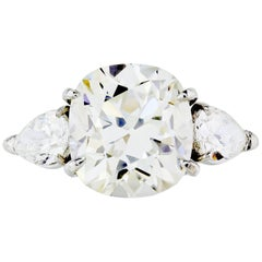 7.28 Carat GIA Cushion Cut Diamond Engagement Three-Stone Ring