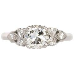 GIA Certified 0.87 Carat Diamond Platinum Engagement Ring