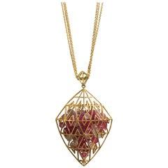 Lauren Harper Pink Sapphires inside 18Kt Gold Shaker Pendant Statement Necklace